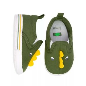 Carter's Infant Baby Boy Size 3 Green Dinosaur Crib Shoes 6-9 Months NEW