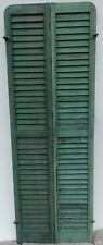 Antique Pair Rounded Arched Wood Louvered Shutter Shabby Vtg Chic 13-17P