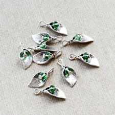 4 Birthstone Leaf Charms August with Faceted CZ Beads  - HM277