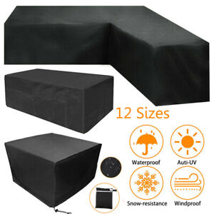 L Shaped Rattan Corner Furniture Cover Garden Outdoor Sofa Protector Waterproof