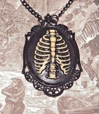 BLACK RIB CAGE CAMEO NECKLACE skeleton bones gothic punk Halloween pendant Z6