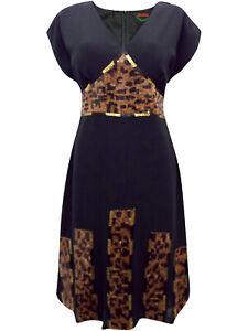 Ladies Black Embellished Sequin Dress Plus Size 20 22 24 Animal Beaded Long  341