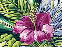SALE! Electric Deco Miami Beach Barkcloth Vintage Fabric Drape Curtain Hibiscus