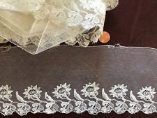 Vintage floral white embroidered net flounce yardage Sew Craft Costume