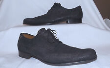 BILLY REID -100% Genuine Leather HANDMADE Wingtip Derby shoes-Size 9M-Black-Nice