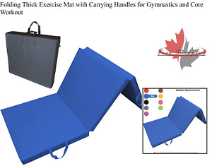 Folding Thick Exercise Mat with Carrying Handles for Gymnastics and Core Workout