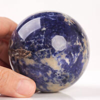 454g 70mm Large Natural Blue Sodalite Quartz Crystal Sphere Healing Ball Chakra