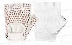 LEATHER FINGERLESS GEL COTTON MESH WEIGHT LIFTING EXERCISE GYM WHEELCHAIR GLOVE