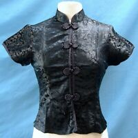 Classic Asian Brocade Blouse Cap Sleeves - Black Dragon / Black Piping - Size M