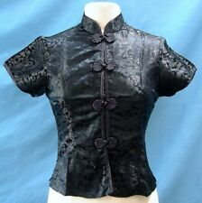 Classic Asian Brocade Blouse Cap Sleeves - Black Dragon / Black Piping  - Size L
