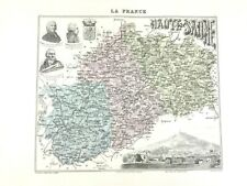 1893 Antique Map of Haute Saone Vesoul France French Regional Hand Coloured