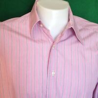 COOGI Pink Shirt Mens MEDIUM White Striped Black Stitching on the Back Button Up
