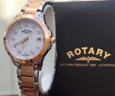 Stunning ROTARY Watch Ladies Rose gold Swarovski Crystals Boxed RRP £189 (R7)