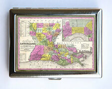 Louisiana Map Cigarette Case Wallet Business Card Holder id case atlas map