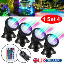 1 Set 4 Lights RGB LED Underwater Spot Light  Aquarium Garden Fountain Pond Lamp
