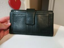 Vintage Fossil Black Leather Bifold Wallet