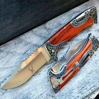 "9"" Engraved Hunting Blade Lockback Folding Tactical Pocket Knife Wood Handle"
