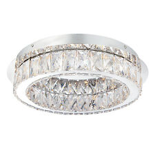 Endon Swayze flush ceiling light 16W Chrome effect plate & clear faceted acrylic