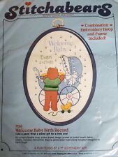 "Stitchabears ""Welcome Baby Birth Record"" Embroidery Kit With Frame Size 5"" x 7"""