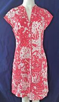 MONSOON Floral Cotton Above Knee Short Sleeve Dress UK 12