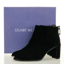 Stuart Weitzman Lofty Black Suede Velvet Booties - Women's 7.5 M