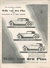 ▬► PUBLICITE ADVERTISING AD CAR VOITURE WILLY VAN DEN PLAS 1926