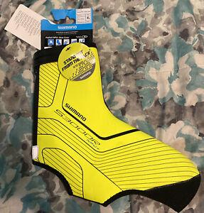 1-Shimano S3000r Asphalt Npu+ Shoe Cover Neon Yellow New Sz Xl 44-47 Right Foot