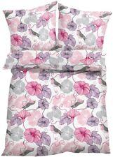 Bettwäsche 4tlg. Bettbezug Garnitur Blumen rosa grau 2 x 135x200 + 80x80 #373