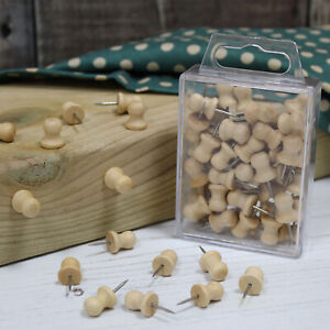 Wooden Push Pins Round Top Natural Wood Coloured Art Craft Notice Board in Cases