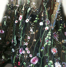 "Delicate Floral Lace Fabric Black Tulle Alice Embroidered Dress 57"" width 1 Yard"