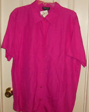 NWT NY & CO silk blend short sleeve shirt  size XL