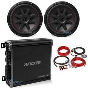 """2) Kicker 43CVR102 COMPVR 10"""" 1400W Subwoofers+Kicker Mono Amplifier+Amp Kit"""