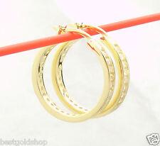 """1""""  Channel Set Diamonique CZ  Hoop Earrings 14K Yellow Gold Clad 925 Silver"""