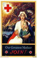 Red Cross NURSE NURSING WWI FOUR HORSEMEN APOCALYPSE Fine Art Print Poster