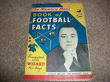 THE MEMORY MANS BOOK OF FOOTBALL FACTS LESLEY WELCH 1958