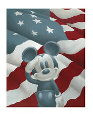 DISNEY ART PRINT POSTER: Mickey (Mouse) Salutes America - Out of Print 11x14