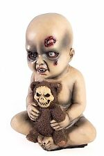 """13"""" ZOMBIE EVIL BABY PROP With TEDDY BEAR Scary Dead Plastic Diaper Decoration"""