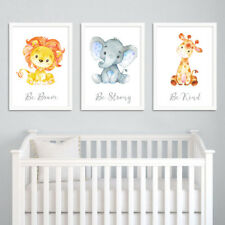 Safari Jungle Animal Quote Nursery Prints Set Childrens Bedroom Decor Boys Girls