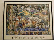 """ MONTANA "" Western Nature Art by Carol Hagan S/N # 566 of 1000 framed w/ Glass"