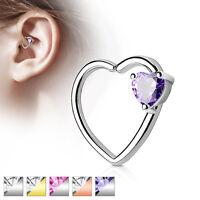 Heart CZ Set Ear Cartilage Tragus Rook Snug Daith Hoop Rings Piercing