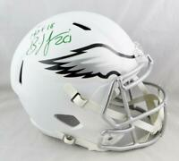 Brian Dawkins Signed Eagles F/S Flat White Speed Helmet w/HOF- Beckett Auth