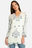 Johnny Was Xandre Tunic XS Beige/Blue Embroidered Long Sleeve Boho Blouse NWT