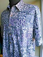COOKE STREET Mens Blue Purple HAWAIIAN SHIRT Sz XL Reverse Print Batik Style