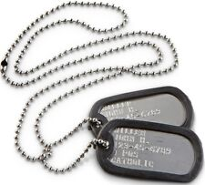 Military ID Dog Tags Embossed Stainless Special Forces Army Ranger Navy Seals