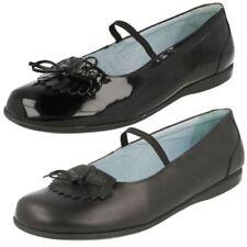 Chaussures noirs larges en cuir pour fille de 2 à 16 ans