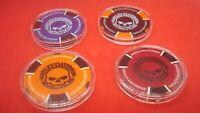 #4 Harley Davidson Poker Chips Willie-G SKULL Golf Ball Marker W/Protective Case