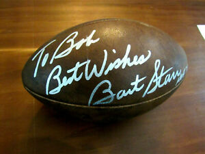 BART STARR BEST WISHES HOF 77 PACKERS SIGNED AUTO WILSON ROZELLE FOOTBALL BAS