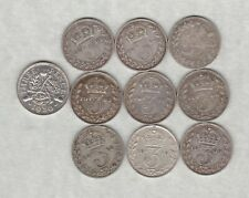 More details for 10 silver three pence dated 1885 to 1936 in good fine or better condition