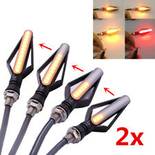 2x Motorcycle LED Sequential Flowing Turn Signal Indicator Light + Brake Flasher