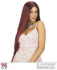 Ladies Extra Long Burgundy Brown Wig Essex Towie Theatrical Fancy Dress